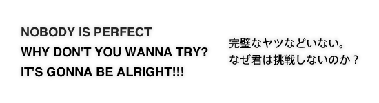NOBODY IS PERFECT  WHY DON'T YOU WANNA TRY? IT'S GONNA BE ALRIGHT!!! 完璧なヤツなどいない。なぜ君は挑戦しないのか?